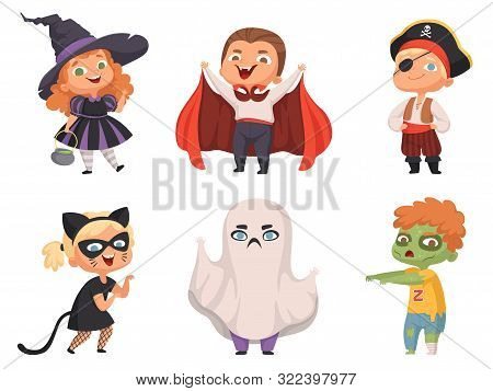 Halloween Kids. Party Children Scary Characters Costume Witch Vampire Vector Cartoon Halloween Colle