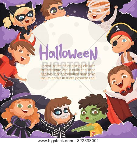 Halloween Frame. Cartoon Scary Background With Kids In Halloween Costumes Happy Party Invitation Vec