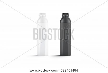 Blank Black And White Water Bottle Mockup Set, Isolated, 3d Rendering. Empty Label Pak With Beverage