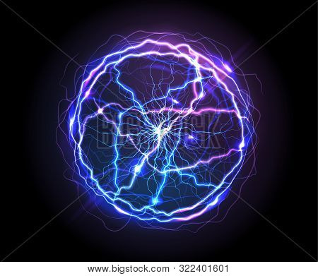 Electric Ball Or Plasma Sphere, Realistic Vector Illustration. Abstractt Ball Lightning With Burning