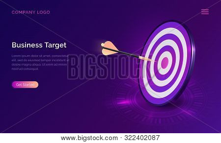 Business Target Isometric Concept Vector Illustration. Round Dart Board With Arrow Flying To Bullsey