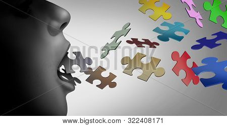 Autism And Speech Therapy Concept Or Special Education For A Verbal Learning Developmental Disabilit