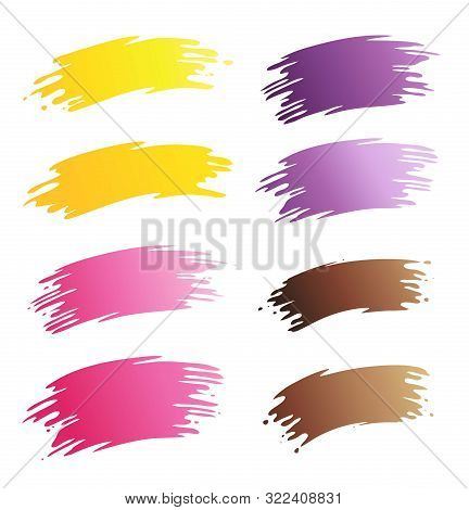 Brush Strokes Of Different Colors. Vector Isolated. Eps 10