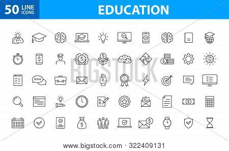 Set Of 50 Education And Learning Web Icons In Line Style. School, University, Textbook, Learning. Ve