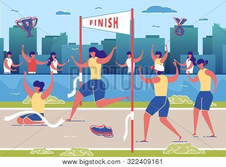 Women Taking Part In Running Competition Flat Cartoon Vector Illustration. Crossing Finish Line On S