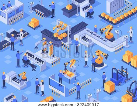 Isometric Smart Industrial Factory. Automated Production Line, Automation Industry And Factories Eng
