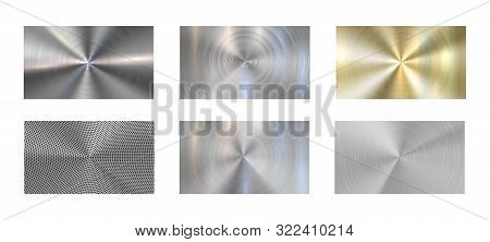 Circular Metal Texture. Radial Brushed Metals, Grey Steel And Metallic Chrome Textures. Aluminum And