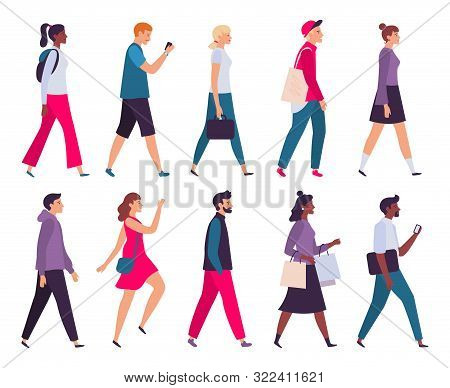 Walking People. Men And Women Profile, Side View Walk Person And Walkers Characters. Businessman Go