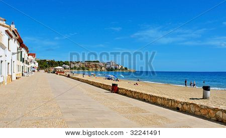 ALTAFULLA, SPAIN - SEPTEMBER 21: View of Altafulla beach on September 21, 2011 in Altafulla, Spain. This golden sand beach has a length of 1100 meters and an average width of 20 meters
