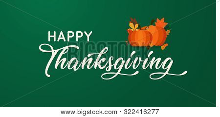 Hand Drawn Happy Thanksgiving Typography Poster. vector