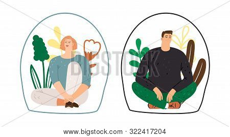 Personal Space Concept. Man Woman Introverts. Meditation, Calm Flat Female And Male Characters, Vect