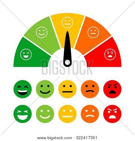Emotion Scale. Emotions Dial Measuring, Emotive Meter, Emotes Score Vector Illustration For Customer