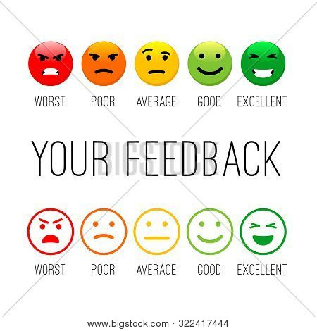 Feedback Emotion Icons. Colour Emotions Signs, Cartoon Emotional Faces For Communication And Support