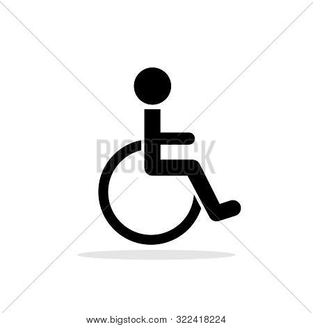 Disabled Toilet Vector Icon. Disability Care Pictogram, Handicapped Man Public Restroom Sign, Disabl