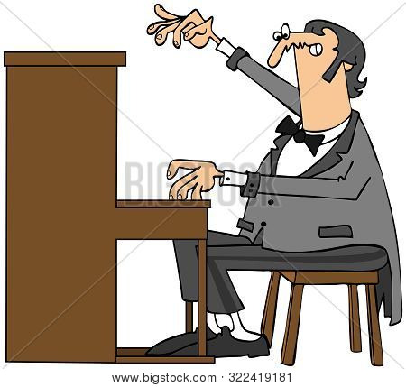 Illustration Of A Grand Pianist Wearing A Tux With Tails Playing An Upright Piano.