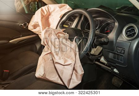 Airbags Safety , Airbag Exploded At A Car Accident. Car After An Accident.