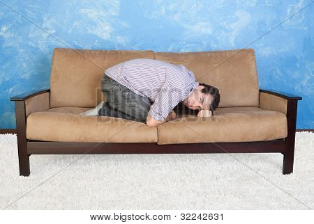 Upset Teen On Sofa