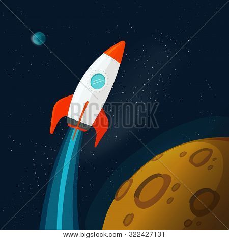 Universe Or Outer Space With Planets And Rocket Or Spaceship Flying Vector Illustration, Flat Cartoo
