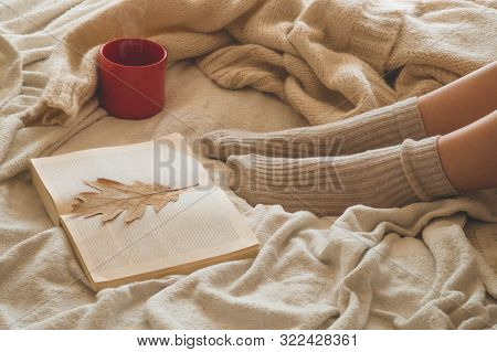 Cozy Autumn Winter Evening , Warm Woolen Socks. Woman Is Lying Feet Up On White Shaggy Blanket And R