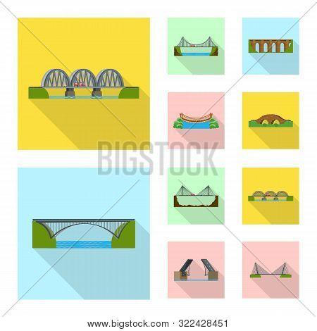 Isolated Object Of Bridgework And Bridge Sign. Set Of Bridgework And Landmark Vector Icon For Stock.