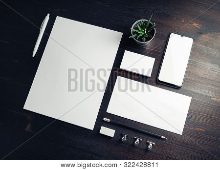 Corporate Identity Template. Branding Mock Up. Blank Business Stationery Mock-up On Wood Table Backg