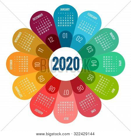 Colorful Round Calendar 2020 Design, Print Template, Your Logo And Text. Week Starts Sunday. Portrai