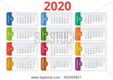 2020 Calendar. Print Template. Week Starts Sunday. Portrait Orientation. Set Of 12 Months. Planner F