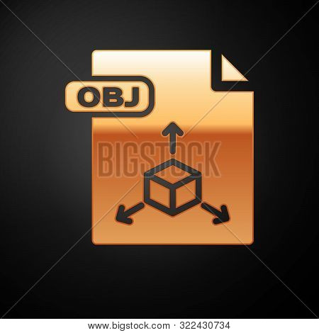 Gold Obj File Document. Download Obj Button Icon Isolated On Black Background. Obj File Symbol. Vect