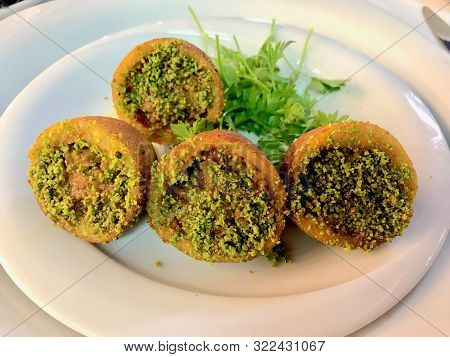 Icli Kofte / Boiled Kibbeh / Quibe / Stuffed Meatballs Falafel With Pistachio Powder Traditional Org