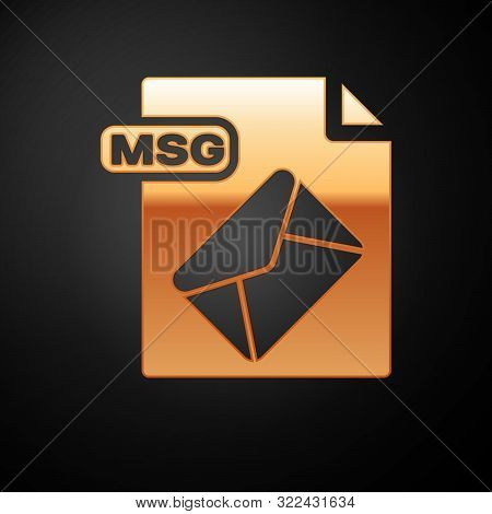 Gold Msg File Document. Download Msg Button Icon Isolated On Black Background. Msg File Symbol. Vect
