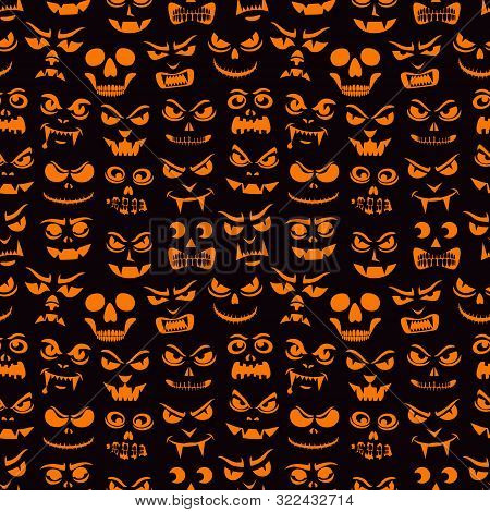 Funny Monsters Seamless Pattern. Halloween Pumpkins Carved Faces Silhouettes. Holiday Cartoon Charac