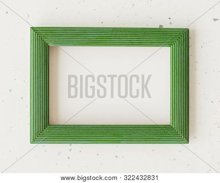 Wooden Green Photo Frame On White Background