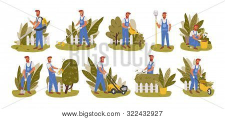 Gardener Working Flat Vector Illustrations Set. Male Handyman Character Mowing Grass, Trimming Trees