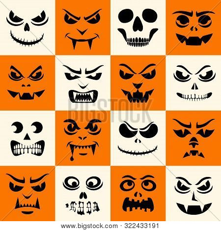 Funny Monsters Seamless Pattern. Halloween Pumpkins Carved Faces Silhouettes. Vampires, Skeletons, D