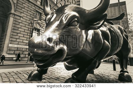 New York, Usa - Apr 28, 2016: Charging Bull, Which Is Sometimes Referred To As The Wall Street Bull