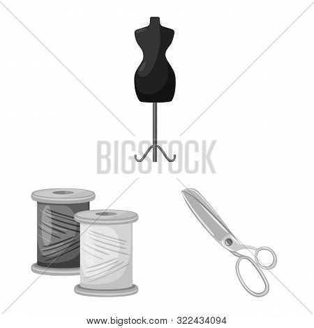 Vector Illustration Of Dressmaking And Textile Sign. Collection Of Dressmaking And Handcraft Stock S