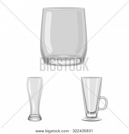 Vector Illustration Of Capacity And Glassware Sign. Collection Of Capacity And Restaurant Stock Symb