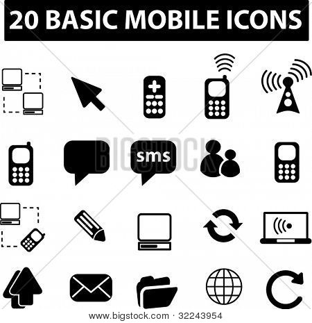 20 icons for media and cell phones
