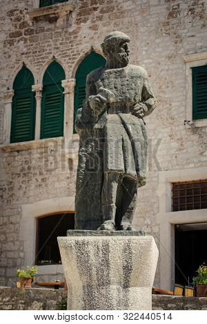 Sibenik, Croatia - August 18, 2017: Sculpture Of Juraj Dalmatinac, The Constructor Of The Cathedral