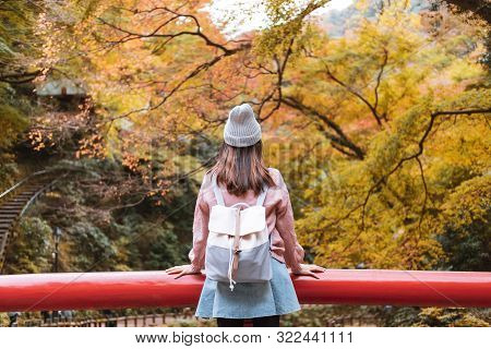 Young Woman Traveler Looking Beautiful Landscape At Minoo Park In Japan, Travel Lifestyle Concept