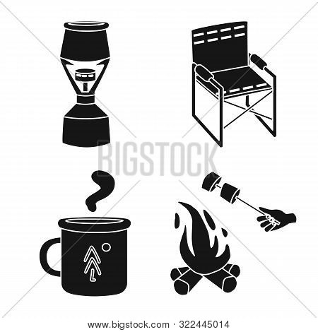 Vector Illustration Of Barbeque And Leisure Logo. Set Of Barbeque And Nature Vector Icon For Stock.