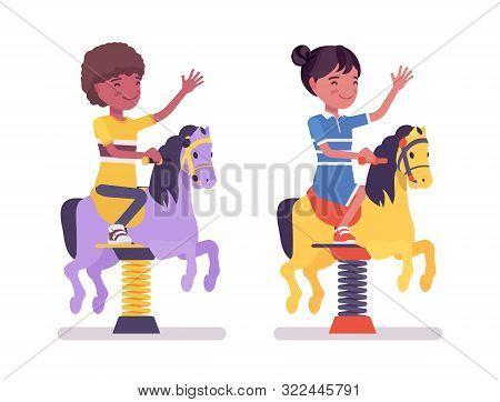 Black Boy, Girl Child 7, 9 Yo School Age Kid At Horse Spring Rider, Enjoy Bouncy Pony Fun, Entertain