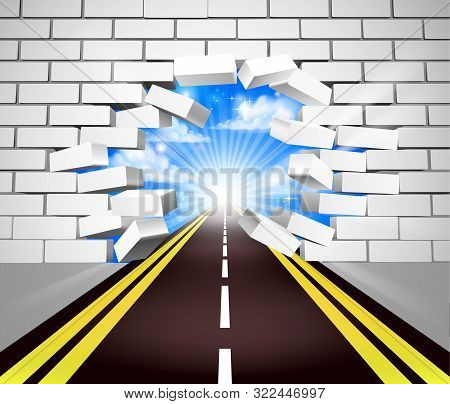 A Road Breaking Through A White Brick Wall, Concept For Overcoming Adversity Or Obstacles In Life Or