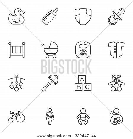 Baby Line Icons Set. Linear Style Symbols Collection, Outline Signs Pack. Vector Graphics. Set Inclu