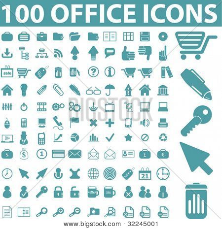 100 office icons. vector