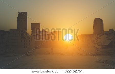 destroyed city at sunset, post apocalyptic landscape, 3d render image.