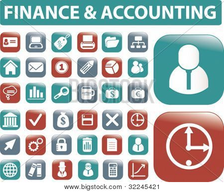 finance & accounting buttons. vector