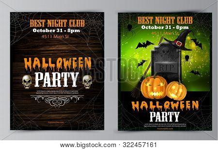 Halloween Party Flyer Set Invitation Collectio Vector