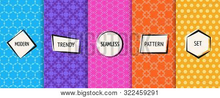 Vector Geometric Seamless Patterns Collection. Bright Colorful Background Swatches With Simple Moder