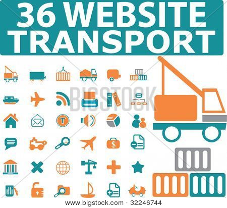 36 website transport icons. vector